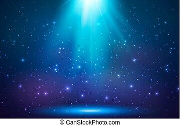 azul, magia, luz, topo, fundo, brilhar