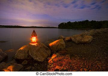 azul, manantiales, lago, noche