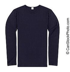 azul, manga longa, camisa, isolado, branco