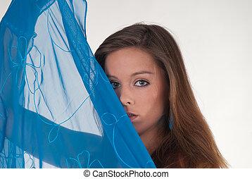 azul, mantô, mulher, jovem, atraente