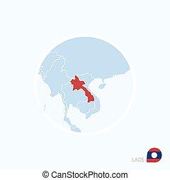 azul, mapa, ásia, color., destacado, sudeste, laos, vermelho, ícone