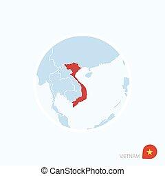 azul, mapa, ásia, color., destacado, sudeste, vietnã, vietnam., vermelho, ícone