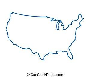 azul, mapa, abstratos, estados unidos
