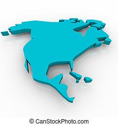 azul, mapa, -, américa do norte