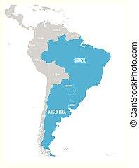 azul, mapa, argetina., miembro, uruguay, diciembre, since, ...
