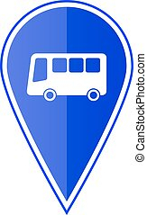 azul, mapa, autocarro, ilustração, vetorial, stop., ponteiro