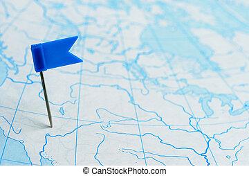 azul, mapa, bandera, alfiler