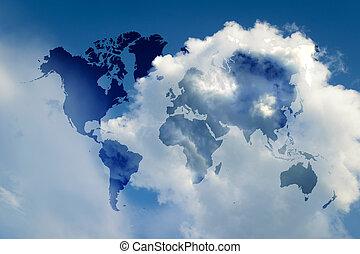 azul, mapa, céu, mundo