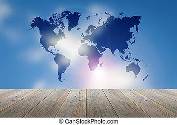 azul, mapa, céu, obscurecido, madeira, terraço, mundo