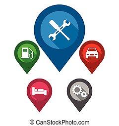 azul, mapa, conjunto, alfiler, reparación, púrpura, coche, ...