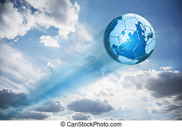 azul, mapa, couro, globo, futebol, céu, tiroteio