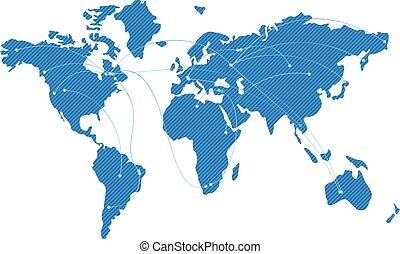 azul, mapa, de, el mundo, con, vuelo, trayectorias