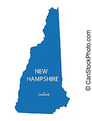 azul, mapa, de, new hampshire, con, indicación, de, concordia
