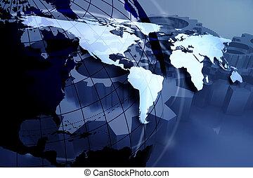 azul, mapa del mundo