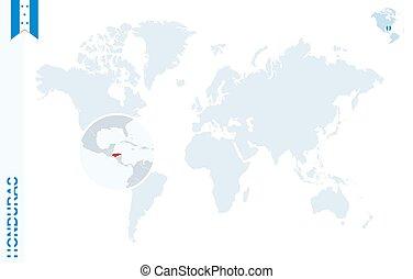 azul, mapa del mundo, con, aumentar, en, honduras.