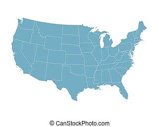azul, mapa, estados, unidas, vetorial