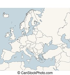 azul, mapa, europeu, países