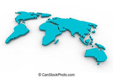 azul, mapa, global, -, plano de fondo, blanco