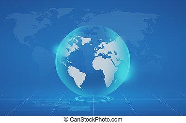 azul, mapa, globo, virtual, fundo, sobre