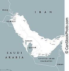 azul, mapa, golfo, gris, región, político, persa