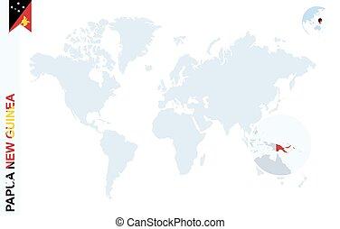 azul, mapa, guinea., papua, mundo novo, magnificar