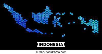 azul, mapa, hexágono, indonesia