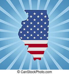 azul, mapa, ilustración, bandera de illinois, sunburst