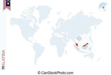 azul, mapa, malaysia., aumentar, mundo