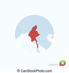 azul, mapa, myanmar., myanmar, ásia, color., destacado, vermelho, ícone