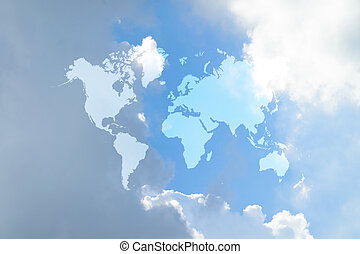 azul, mapa, nuvem céu, mundo