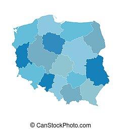 azul, mapa, polonia