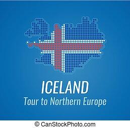 azul, mapa, silueta, caption, cor, islândia, -, color., pontos, icelands, bandeira, vetorial, tagline
