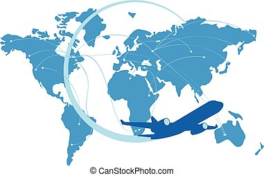 azul, mapa, silueta, chorro, atrás, mundo, avión
