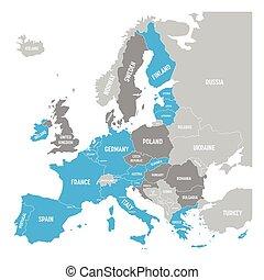 azul, mapa, vector, países, eurozone., currency., gris, ...