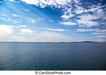 azul, mar, águas, azul, céu, com, nuvens, horizonte