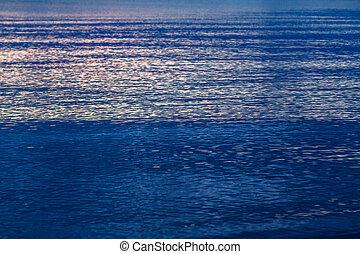 azul, mar, a, brilho, de, a, sol, ligado, a, água, pacata