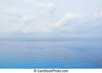 azul, mar abierto, agua, debajo, cielo nublado