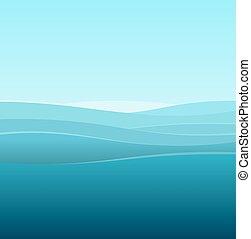 azul, mar, abstratos, vetorial, fundo, waves.
