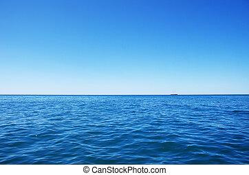 azul, mar, azul, céu, ligado, horizonte