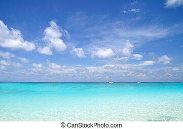 azul, mar, céu azul, férias
