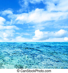 azul, mar, e, céu nublado, -, abstratos, verão, background-