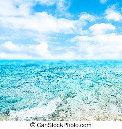 azul, mar, e, céu nublado, -, abstratos, verão, fundo