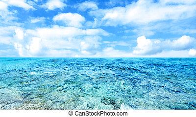 azul, mar, e, céu nublado, -, abstratos, verão, fundo, com, céu nublado, para, seu, desenho