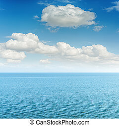 azul, mar, e, nuvens, em, céu