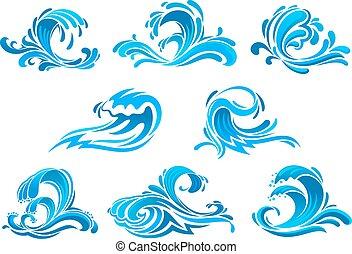 azul, mar, e, ondas oceano, ou, surfar, ícones