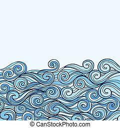 azul, mar, fundo, onda