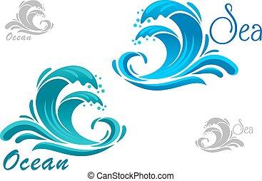 azul, mar, ondas, icono, con, agua, salpicadura
