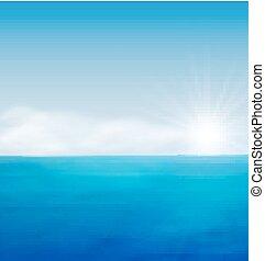 azul, mar, paisagem, amanhecer, oceânicos