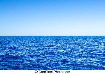 azul, mar, sky., vista marina, claro, mediterráneo, línea ...