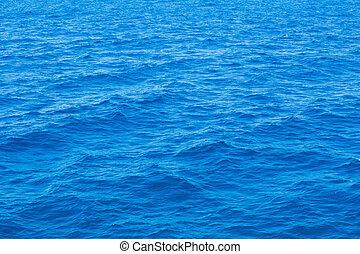 azul, mar, superficie, con, ondas
